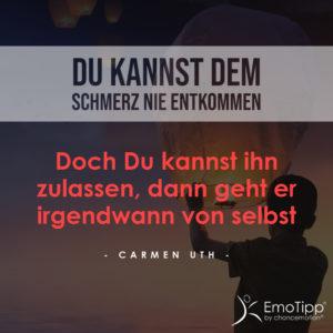 Der chancemotion EmoTipp über negative Emotionen von Ihrer Emotionsexpertin Carmen Uth - Du kannst dem Schmerz nie entkommen. Doch Du kannst ihn zulassen, dann geht er irgendwann von selbst